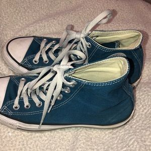 Converse Shoes - Blue/Dark Turquoise High Top converse(will clean)